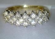 Anillo sortija de oro con 20 diamantes muy brillantes