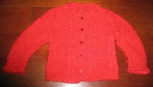 Chaqueta artesanal roja con bodoques
