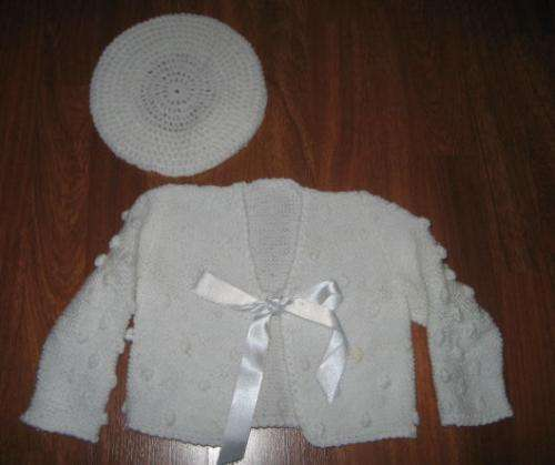 Chaqueta artesanal blanca con bodoques