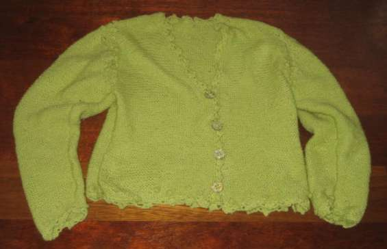 Chaqueta artesanal para chica verde pistacho